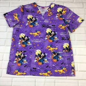 Disney Mickey Mouse Purple Halloween Scrub Top